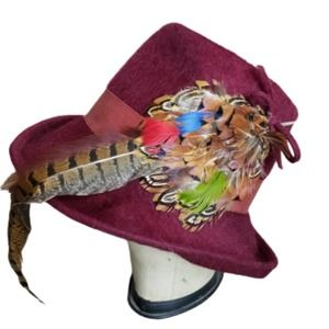 Vintage Felt Hat with Feathers
